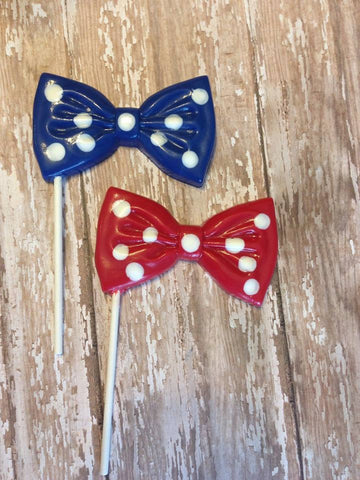 12 Chocolate Bow Tie Lollipops Gender Reveal Mr Man Baby Shower First Birthday Sweets Table Favors Father's Day Polka Dots - Sparkling Sweets Boutique,  - chocolate