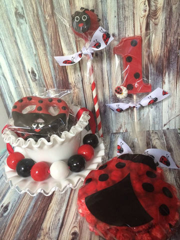 Ladybug Sweets Table Birthday Baby Shower Chocolate Cake Pops Popcorn Number One Lollipops Pretzels Bubblegum Necklaces Lady Bug Favors - Sparkling Sweets Boutique,  - chocolate