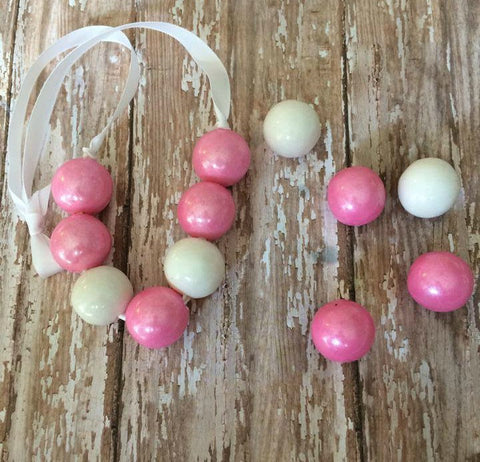 12 Real Bubble Gum Bubblegum Gumball Necklace Pink Shimmer and White Birthday Party Favors - Sparkling Sweets Boutique,  - chocolate