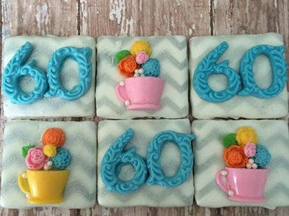 12 Chocolate Covered Graham Cracker 60th Birthday Teacup Flowers Chevron Party Favors Sweets Table Treats - Sparkling Sweets Boutique,  - chocolate