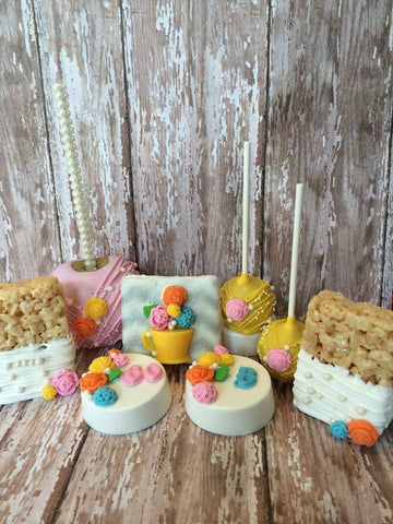 Tea Party Themed Sweets Table Set Grahams Oreos Rice Krispie Treats Apples Cake Pops - Sparkling Sweets Boutique,  - chocolate