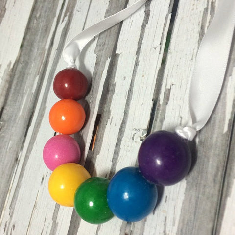 12 Rainbow Real Bubble Gum Necklaces Gumball Necklace Birthday Party Favors Sweets Table Art Party - Sparkling Sweets Boutique,  - chocolate