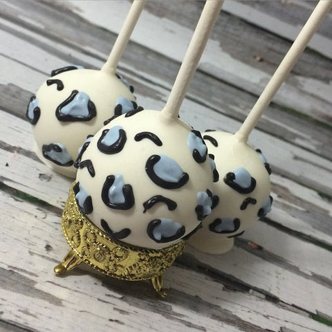 12 Cheetah Cake Pops Baby Shower Zoo Party Animal Print Blue Pink Black Swirl Bridal Birthday Favor - Sparkling Sweets Boutique,  - chocolate
