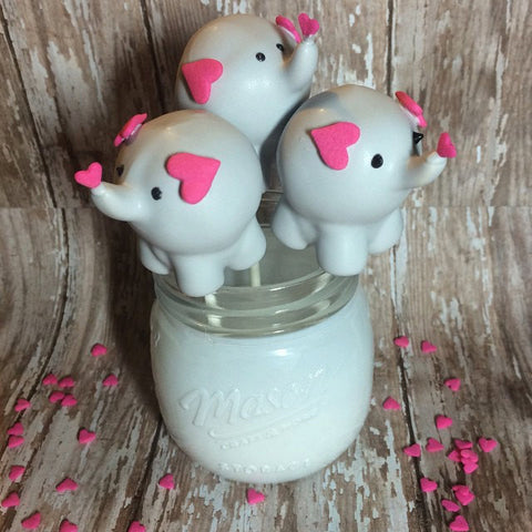 12 Baby Elephant Cake Pops Baby Shower Zoo Party Animal Circus Birthday Favor Sweets Table - Sparkling Sweets Boutique,  - chocolate