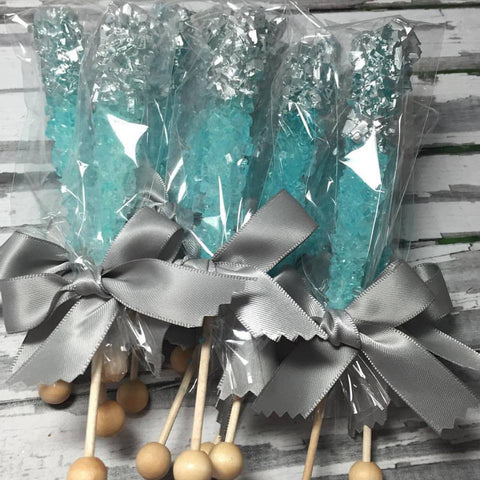 12 Light Teal Rock Candy Sugar Sticks Silver Tip Sweets Table Birthday Party Favors Wedding Baby Bridal Shower Corporate Event Gluten Free - Sparkling Sweets Boutique,  - chocolate