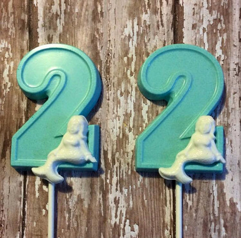 12 White Chocolate Number Two 2 Lollipops Mermaid Beach Girl Theme Birthday Party Favors Second Sweets Table Candy Buffet - Sparkling Sweets Boutique,  - chocolate