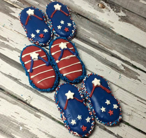 1 dozen Nutter Butter 4th Fourth of July Flip Flops Chocolate Covered Oreo Party Favors Sweets Table Corporate Baby Shower Birthday Party - Sparkling Sweets Boutique,  - chocolate