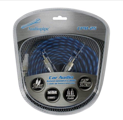 Audiopipe Platinum Plated Interconnect Cable, 25ft