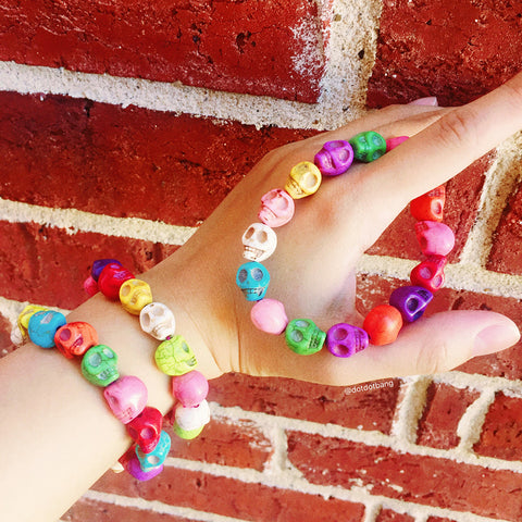 Happy Skull Rainbow Bead Bracelet