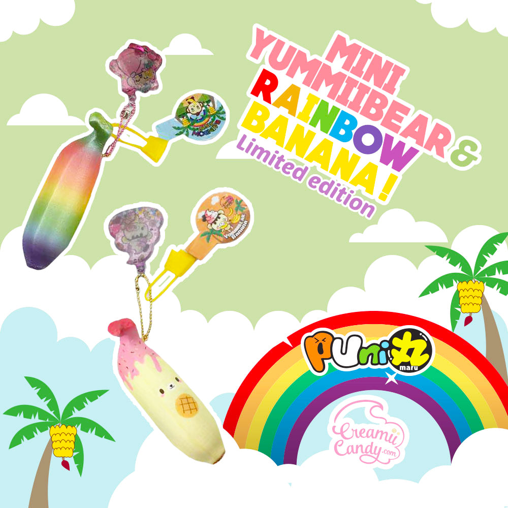 Puni Maru MINI Yummiibear and Rainbow Banana SCENTED Squishy, with FREE Water Charm