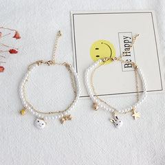 Super Duper Cute Bunny & Kitty Pearl Bracelet