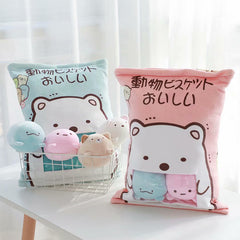 Kawaii Japan Sumikko Gurashi Plush Animal Pillow, 4 Cute Dolls Inside Zipper Bag!