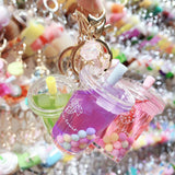 Fruity Rainbow Boba Tea Liquid Keychain
