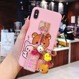 Rilakkuma Silicone Phone Case For Iphone, With Charm and Small Bear Bell