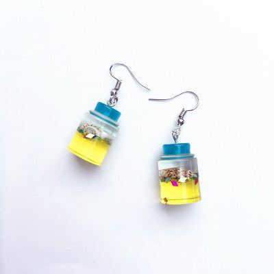 Ocean Drifting Bottle Earrings with Shell Inside!