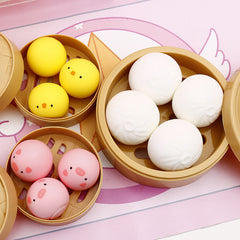 Animal Steam Bun Squishy Set