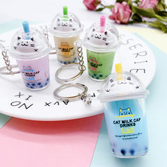 Kitty Boba Tea Liquid Keychain