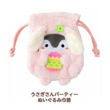 Licensed Pink Bunny Koupen Chan Penguin Plush Fluffy Drawstring Bag Pouch Case