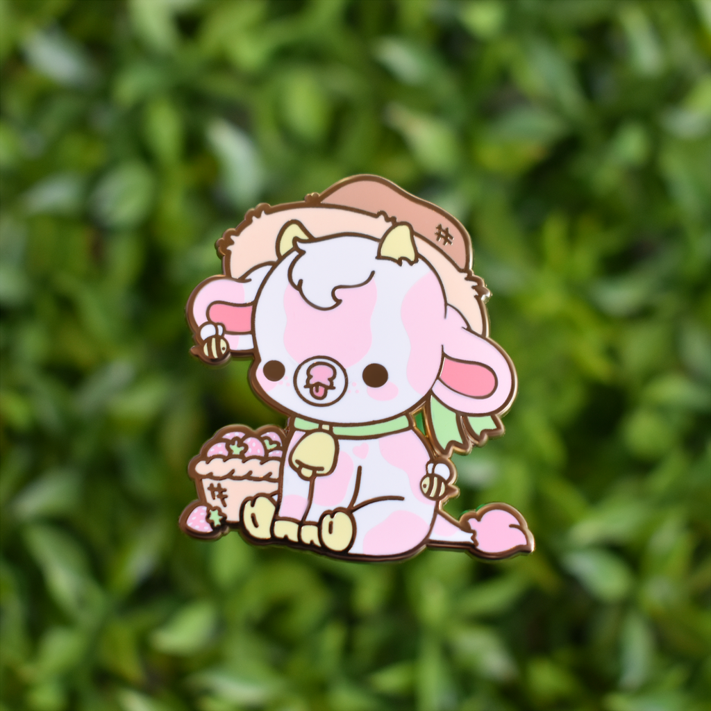 BrightBat Strawberry Cow Pin 1.6 inch