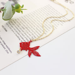 Limited Edition! Red Hollow Goldfish Necklace