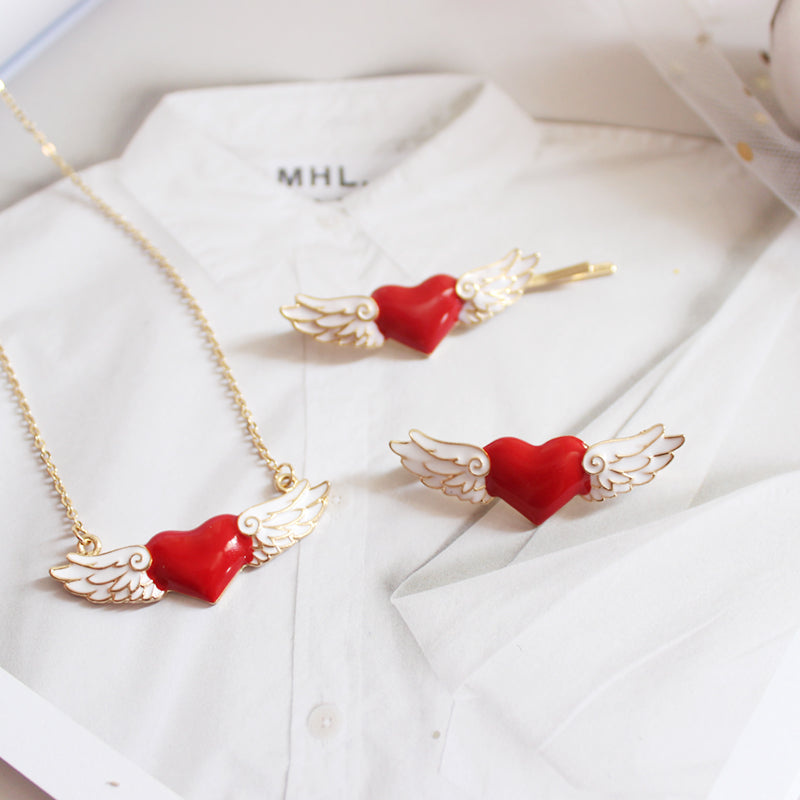 Kawaii! Red Angel Heart Necklace with Wings
