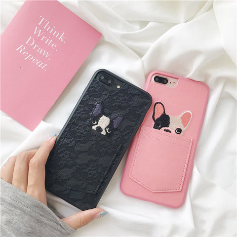 Lace Design! Leather French Bulldog Phone Case with Pocket For Iphone