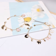 Japan Sakura Cat Bracelet with Wings
