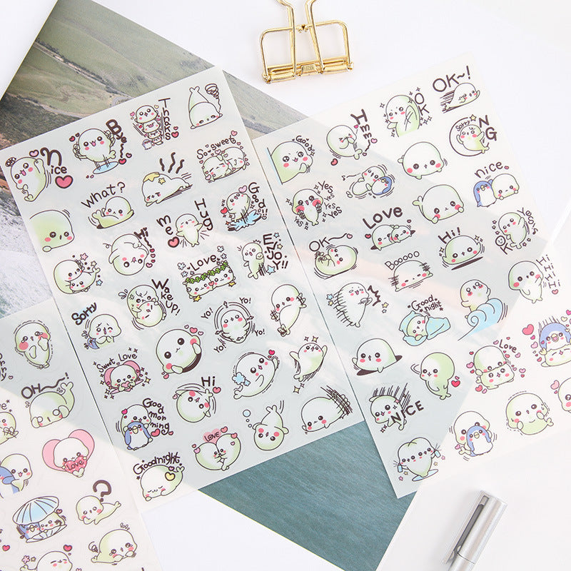 Cute Baby Seal Stickers, A Set! 6 Different Sheets Included!