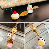 Japan EPOCH Licensed RARE Key Spoon Hamster with Snacks Key Chain Charm