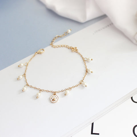 Kawaii Cat Paw Pearl Bracelet