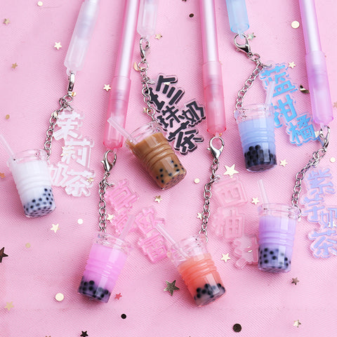 Limited Kawaii Boba Milk Tea Gel Pen, REMOVABLE Pendant!
