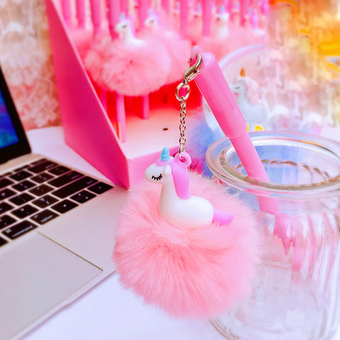 Pink Unicorn Writing Gel Pen with PINK FLUFFY BALL Pendant, Bag Backpack Charm, Key Chain
