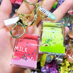 Shake it! WATER Charm! Fruit Milk Box Liquid Key Chain Bag Backpack Charm