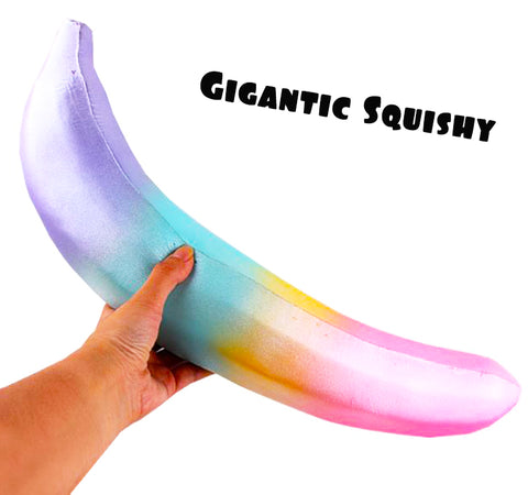 GIGANTIC Pearly Rainbow Banana Squishy, 16 Inch Long!