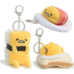 Gudetama Lazy Egg On Toast, Tamago, Laying Down With Bacon Key Chain Charm
