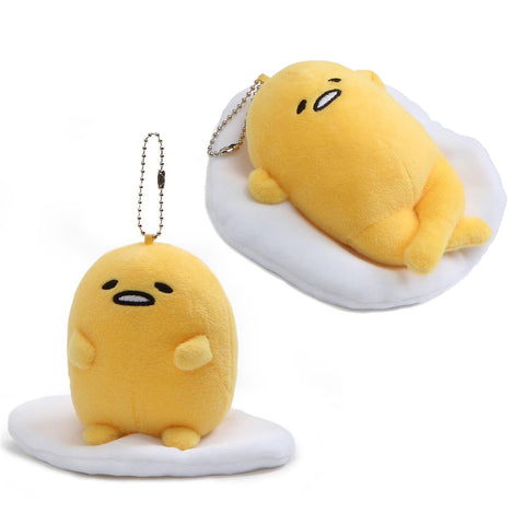 Gudetama Lazy Egg Face Up & Sitting Pose Key Chain Charm, 5""