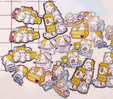 Japan Nekoni Licensed Koniwa Milk Box Animals Gold Foiled Stickers