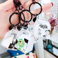 Shake it! WATER Charm! Kawaii Milk Box Liquid Key Chain Bag Backpack Charm