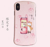 Shiba Inu with Japan Drink Embossed Soft Phone Case For Iphone