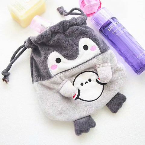 Japan Licensed Koupen Chan Penguin Plush Fluffy Drawstring Bag Pouch Case