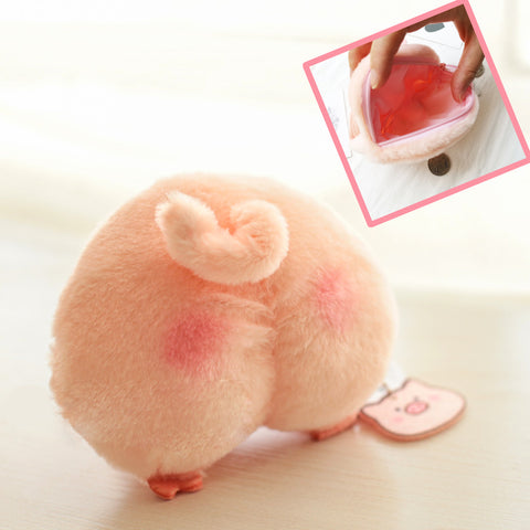 Japan Nekoo Licensed Fluffy Peach Piggy Butt Pouch Wallet with Ball Chain!