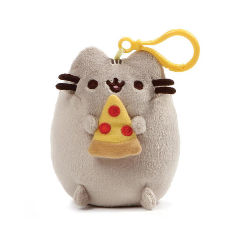 Pusheen Snackable Pizza Cat Plush Stuffed Animal Backpack Clip, 5""