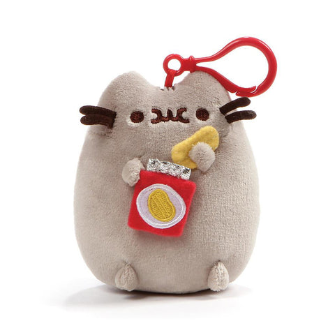 Pusheen Snackable Potato Chips Cat Plush Stuffed Animal Backpack Clip, 5""