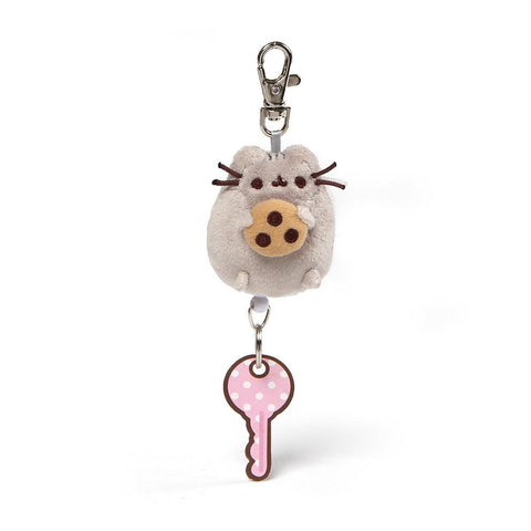 "Pusheen Retractable Keychain, 2.5"", Pusheen Holding Cookie Plush"