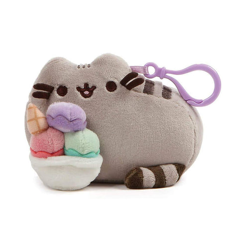 Pusheen Snackable Sundae Cat Plush Stuffed Animal Backpack Clip, 5""