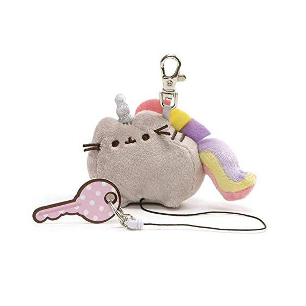 "Pusheenicorn Retractable Keychain, 3"", Pusheen Unicorn Cat Plush"
