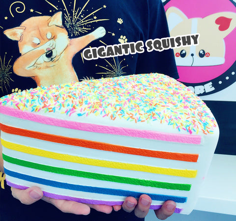 GIGANTIC Rainbow Sprinkle Shortcake Scented Squishy, BIGGEST Squishy Ever!