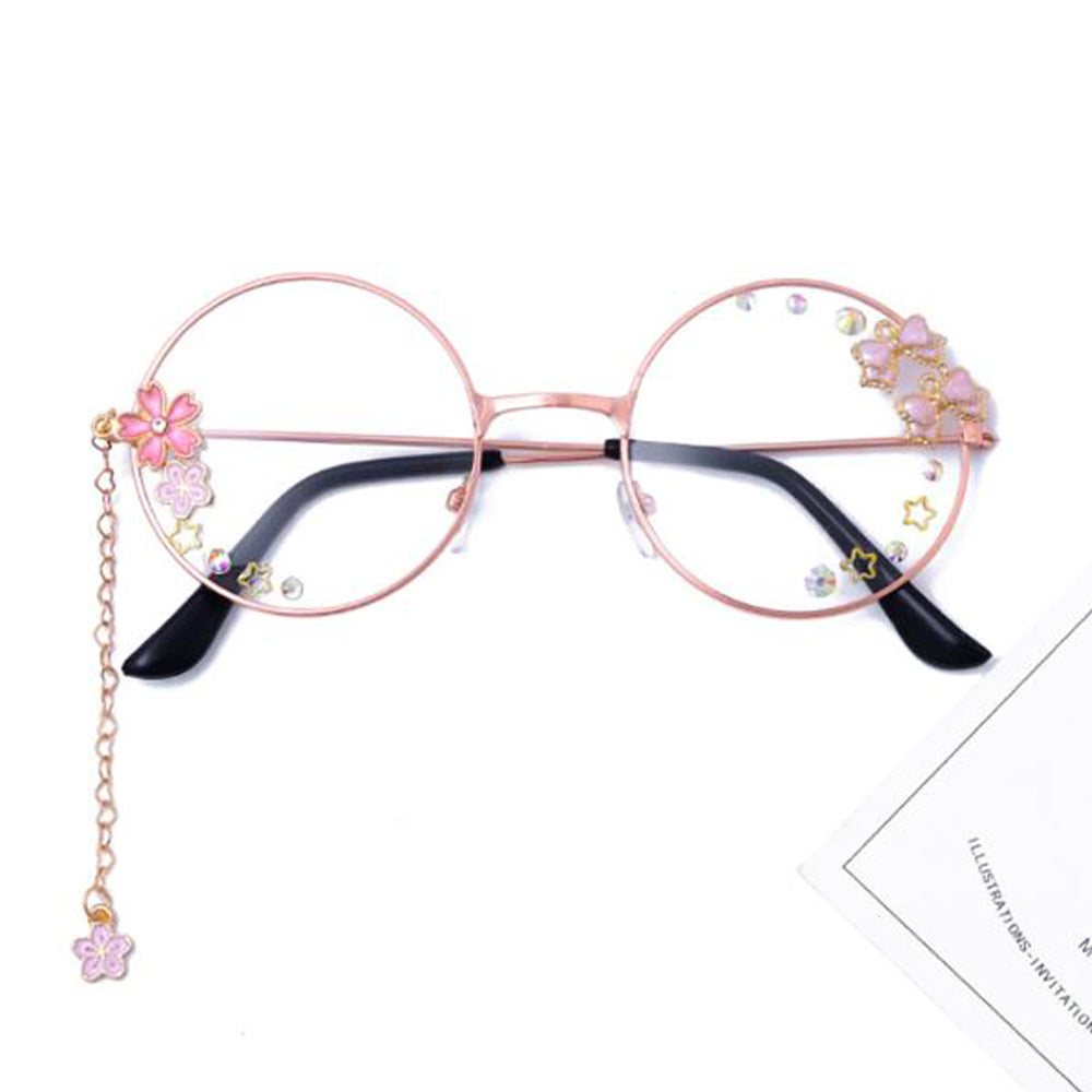 Lolita Kawaii Sakura Chain Vintage Eyewear Plain Glass Spectacles, Decoration Glasses