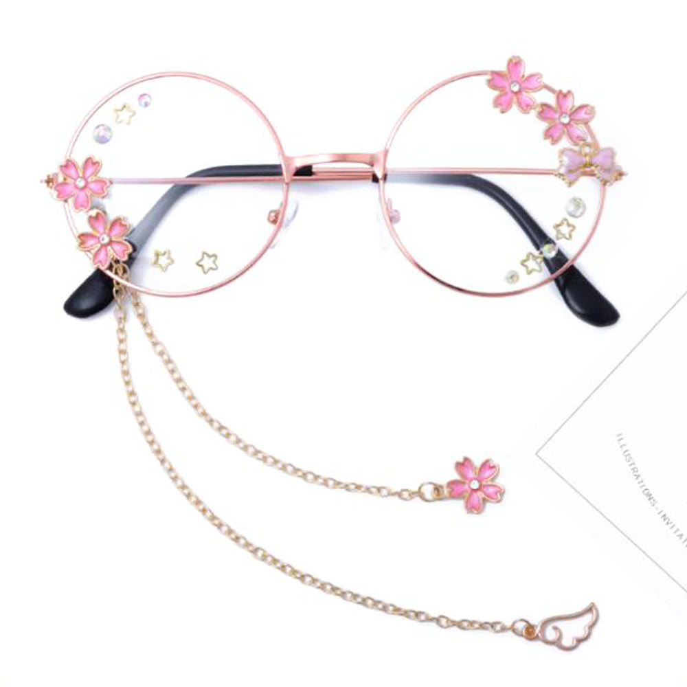 Kawaii Angel's Wing with Sakura Vintage Eyewear Decoration Plain Glass Spectacles, Glasses, Removable Chain!