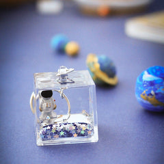 Spaceman Liquid Cube Keychain